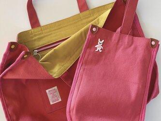 帆布トートバッグ&シューズ入れ(pink)の画像