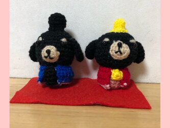 ひな祭りイヌの編みぐるみの画像