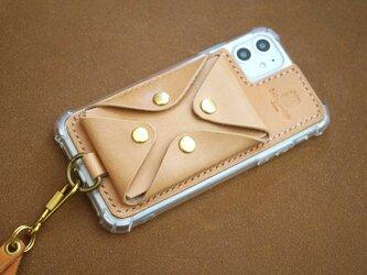 本革サドルレザーの スマホ iphone 背面マルチケース 全機種対応【受注製作】の画像