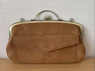【送料無料】ペコッと押すとパカっと開くネコちゃん口金の、外ポッケがついた本革ぺたんこ親子がまぐち長財布の画像