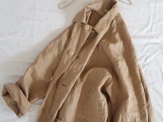 マキシ丈♡カーキ色リネン♡オーバーサイズコート・着回し力♪旬なサイズ感・軽さがいいね・リラックスの画像