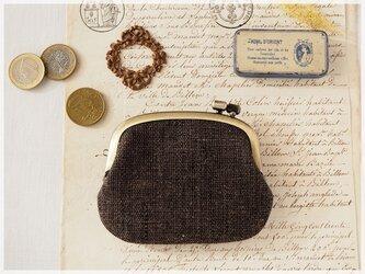 ■手紡ぎ、手織りシルク・リネンの横ひねりがま口コインケース / be■ panier(gmi-be)の画像