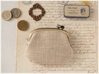 ■手紡ぎ、手織りシルク・リネンの横ひねりがま口コインケース / bd■ panier(gmi-bd)の画像