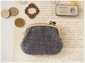 ■手紡ぎ、手織りシルク・リネンの横ひねりがま口コインケース / bc■ panier(gmi-bc)の画像