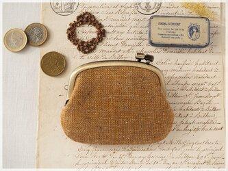 ■手紡ぎ、手織りシルク・リネンの横ひねりがま口コインケース / bb■ panier(gmi-bb)の画像