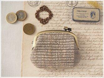 ■手紡ぎ、手織りシルク・リネンの横ひねりがま口コインケース / ba■ panier(gmi-ba)の画像