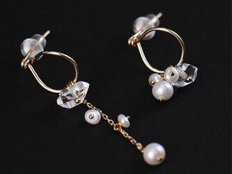 #816 ハーキマーダイヤモンドとパールのピアス14KGF+K10の画像