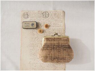 ■手紡ぎ、手織りシルク・リネンのがま口ポーチ/f■ petit (gmi-f)の画像