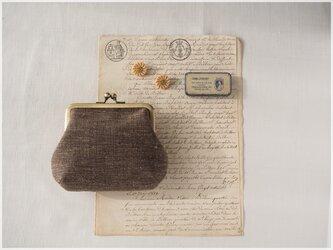 ■手紡ぎ、手織りシルク・リネンのがま口ポーチ/e■ petit (gmi-e)の画像