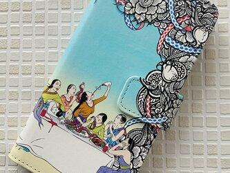 【受注製作】『最後の晩餐風女子会』iPhone手帳型ケースの画像