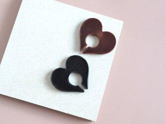 """【レザーイヤーカフ】 Extra〜heart〜""""black""""の画像"""
