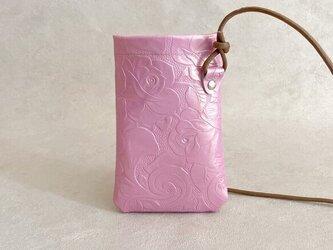 iPhone ポシェット ミニ 本革 スマホポーチ ボタニカル ローズ ピンクの画像