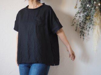 リネン半袖シンプルトップス ブラック  No.157-1の画像