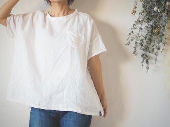 リネン半袖シンプルトップス ホワイト  No.157-3の画像