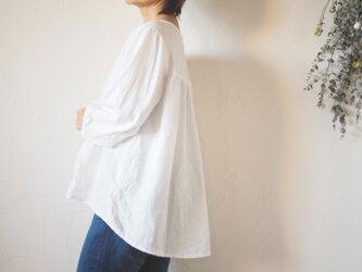 リネン7分袖ブラウス ホワイト  No.156-3の画像