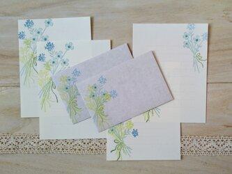 消しゴム版画「ミニお手紙セット(花束・グリーン)」の画像