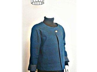 9*紬リメイクショートジャケット(紺)の画像
