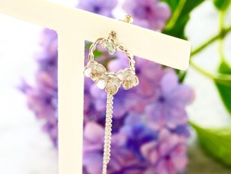 四季 紫陽花の3WAYバックチャームピアスS 片耳用の画像