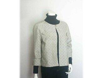 8*大島紬リメイクショートジャケット(オフ白)の画像