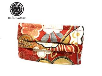 【現品1点のみ!!】HAJIME AYUMU 高級和柄付き着物&ダブルガーゼ デザイン折り畳み式マスク レッドの画像