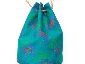 Shweshweファブリック バスケットバッグ Green&Blue flowerの画像