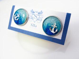 水色マリンのカフスボタン スカイブルー×オーシャンブルー シルバー金具の画像