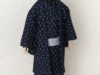 「小絣」29cm男子ドール着物と羽織りの画像