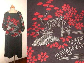 sold Out着物リメイク♪梅の花&お家模様が素敵な絞りチュニックワンピース♪ハンドメイド♪♪綸子・正絹・絞り・ボートネックの画像