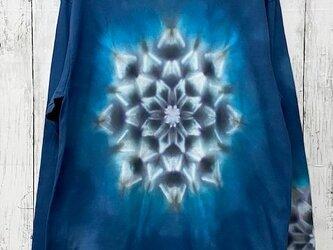 タイダイ 絞り染め マンダラ 長袖Tシャツ XLサイズ ネイビー 藍色 HD13-34の画像