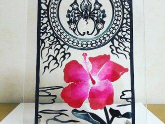 仏桑花曲輪日輪焔蝶文様の画像