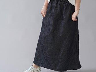 【wafu】岡山リネンデニム スカート linen100% /ダークインディゴ s006a-din3の画像