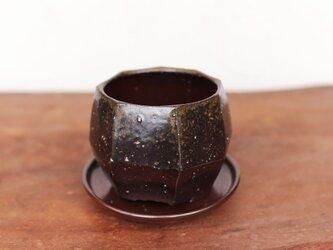 備前焼 三足植木鉢【受皿付き】 u-054の画像