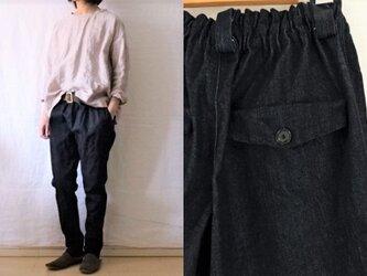 【受注制作】濃紺ストレッチデニム すらりパンツの画像