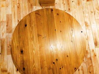 ■木目美しい温もりの円卓/シンプル/可愛い/おしゃれ/ローテーブル/デスク/杉/無垢/ちゃぶ台の画像