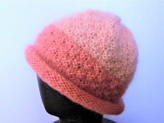 草木染毛糸の手編み帽子 AD-286の画像