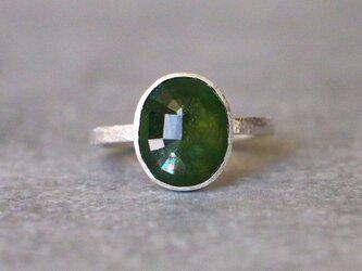 古代スタイル*天然グリーンサファイア 指輪*7号 SVの画像