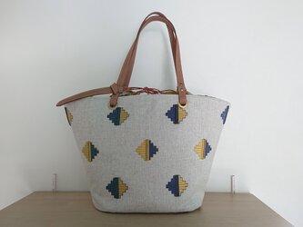 刺繍入りキャンバストートバッグ(巾着袋つき)の画像