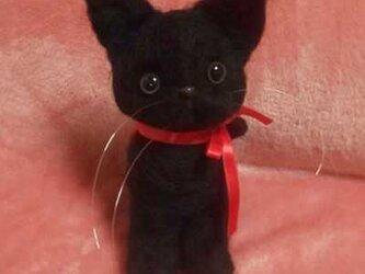 〔注文製作〕羊毛フェルトハンドメイド黒猫ちゃんの画像