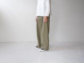 twill cotton /tack wide pants/khakiの画像