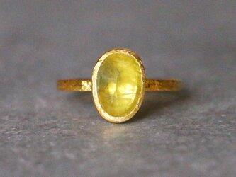 古代スタイル*天然イエローサファイア 指輪*7号 GPの画像