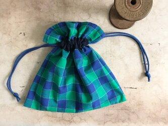 チェックの小さな巾着袋。(BA-094)の画像
