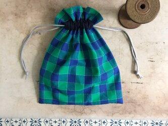ミドリチェックの巾着袋。(BA-095)の画像