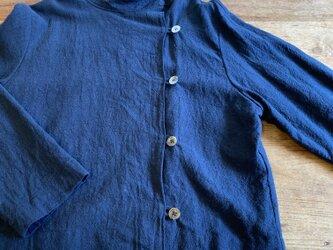 ネイビーリネンの脇ボタンジャケットL~2Lサイズの画像