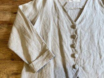リネン薄での生成りショートジャケットMサイズの画像