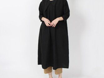 9番手リネン衿ぐり重ねワンピース(ブラック)の画像