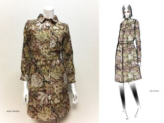 【1点もの・デザイン画付き】ゴブラン織りベルト付きシャツ型ワンピース(KOJI TOYODA)の画像