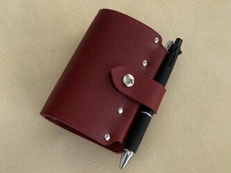 【mini5 wine】筒状クリップホルダーのシステム手帳 SN5-002win ヌメ床革 ワイン レザー 手帳 ノート ミニ5の画像