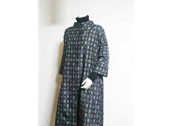 10*大島紬リメイクスレトロデザインプリングコート(黒×紫)の画像