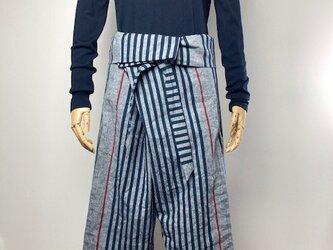 【遠州綿紬】タイパンツ/大名縞・紺の画像