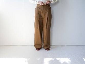 twill cotton /tack wide pants/brownの画像